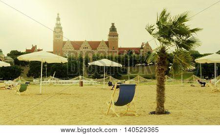 The beach near Odra River in Szczecin, Poland. Toned photo.