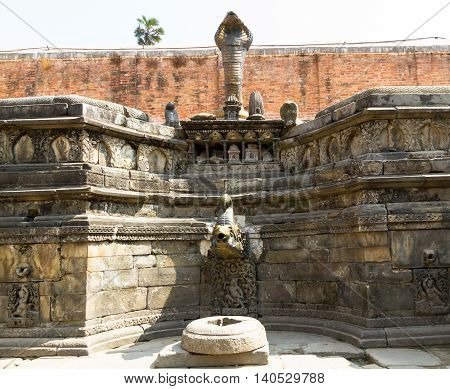 Historic Metal Tap of ancient Nepalese Kings in Bhaktapur Drubar SquareNepal.