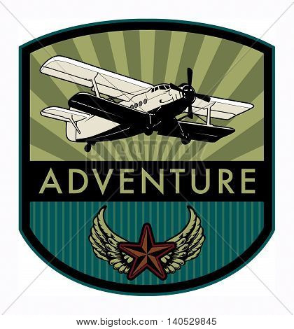 Adventure with airplane label or symbol, vector illustration