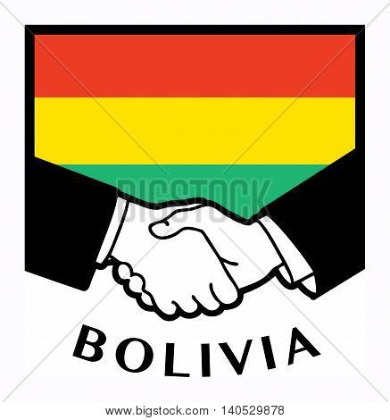 Bolivia flag and business handshake, vector illustration