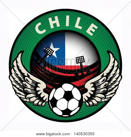 Label with football and name Chile, vector illustration