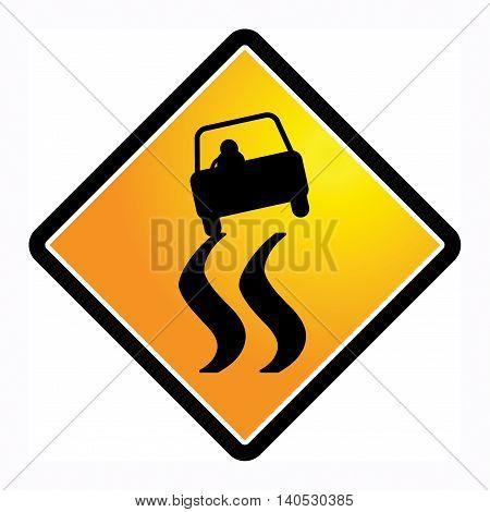 Slippery road sign on white background, vector illustration