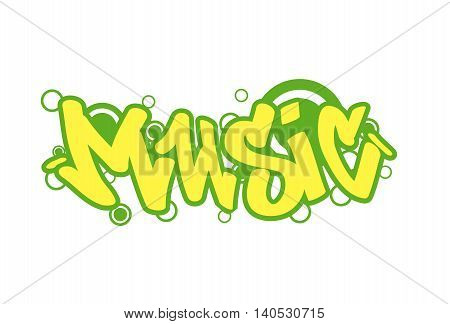 Graffity lettering Urban street art. Street style words music. Wall painting. Vector Illustration