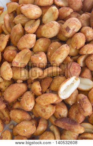 This is a photograph of Barbecue flavored peanuts