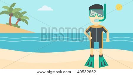An asian man in diving suit, flippers, mask and tube standing on the beach. Male scuba diver on the beach. Man enjoying snorkeling. Vector flat design illustration. Horizontal layout.