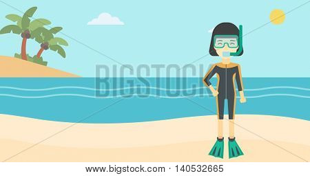 An asian woman in diving suit, flippers, mask and tube standing on the beach. Female scuba diver on the beach. Woman enjoying snorkeling. Vector flat design illustration. Horizontal layout.