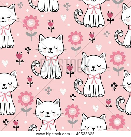 Seamless pattern with cute cats. Vector illustration with white kittens and flowers on a pink background.