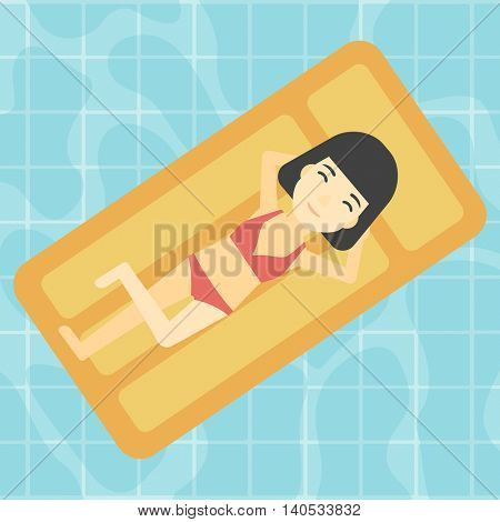 An asian woman relaxing on the air bed in the swimming pool. An asian woman enjoying her vacation. Vector flat design illustration. Square layout.