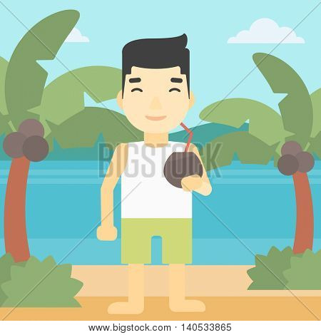 An asian man with a coconut cocktail on the beach. Man drinking a coconut cocktail on the beach. Man enjoying his vacation. Vector flat design illustration. Square layout.