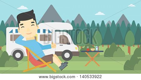 An asian man sitting in a folding chair and giving thumb up on the background of camper van. Man enjoying vacation in camper van. Vector flat design illustration. Horizontal layout.