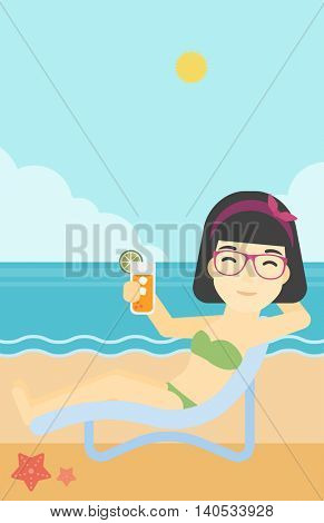 An asian woman sitting in a chaise longue and holding a cocktail in hand on the background of sand beach with blue sea. Vector flat design illustration. Vertical layout.