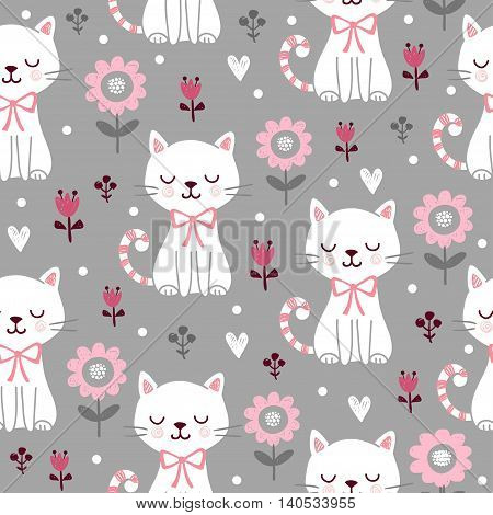 Seamless pattern with cute cats. Vector picture with squint kittens and flowers on a gray background. The illustration on the theme of children and the children s style.
