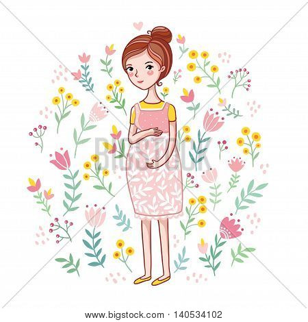 A young pregnant woman on a floral background. Future mother among on a white background. Vector illustration in cartoon style. Girl stroking belly with a baby. Baby shower card It s a Girl.