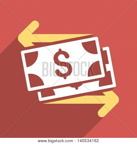 Dollar Banknotes Payments long shadow glyph icon. Style is a flat Dollar banknotes payments iconic symbol on a red square background.