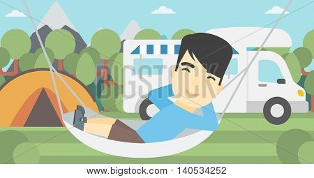 An asian man lying in a hammock in front of motor home. Man resting in hammock and enjoying vacation in camper van. Vector flat design illustration. Horizontal layout.