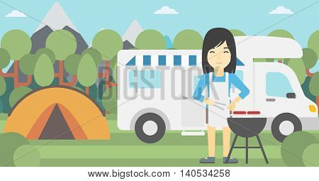 An asian woman cooking meat on barbecue on the background of camper van. Woman travelling by camper van and having barbecue party. Vector flat design illustration. Horizontal layout.