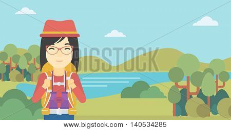An asian woman with backpack walking in the mountains. Female backpacker with binoculars. Female traveler hiking in mountains. Vector flat design illustration. Horizontal layout.