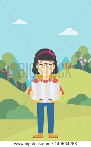 Traveler with backpack looking at map. An asian woman travelling in mountains. Traveler searching right direction on map. Vector flat design illustration. Vertical layout.
