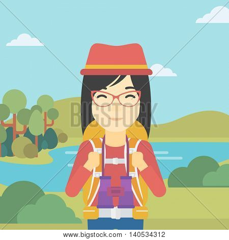 An asian woman with backpack walking in the mountains. Female backpacker with binoculars. Female traveler hiking in mountains. Vector flat design illustration. Square layout.