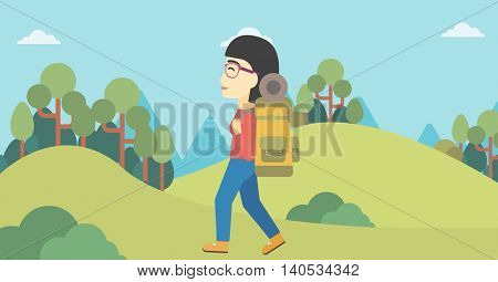 An asian woman hiking in mountains. Female traveler with backpack mountaineering. Hiking woman with backpack walking outdoor. Vector flat design illustration. Horizontal layout.