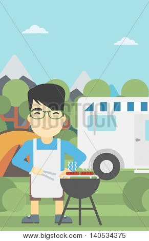 An asian man cooking meat on barbecue on the background of camper van. Man travelling by camper van and having barbecue party. Vector flat design illustration. Vertical layout.