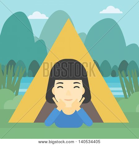 An asian woman crawling out from a camping tent. Travelling woman with her hands on cheek lying in camping tent and relaxing. Vector flat design illustration. Square layout.