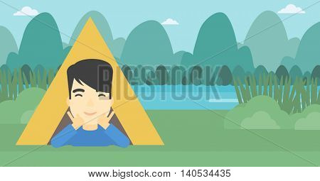 An asian man crawling out from a camping tent. Man with his hands on cheek lying in camping tent and relaxing. Vector flat design illustration. Horizontal layout.