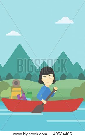 An asian woman riding in a kayak on the river with a skull in hands and some tourist equipment behind her. Woman traveling by kayak. Vector flat design illustration. Vertical layout.