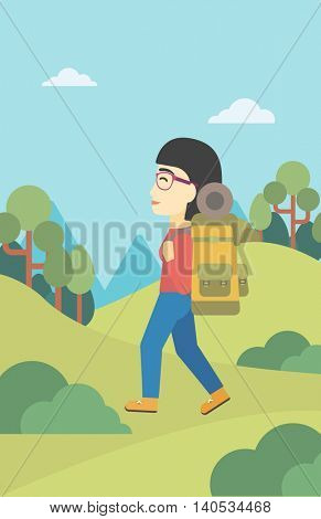 An asian woman hiking in mountains. Female traveler with backpack mountaineering. Hiking woman with backpack walking outdoor. Vector flat design illustration. Vertical layout.
