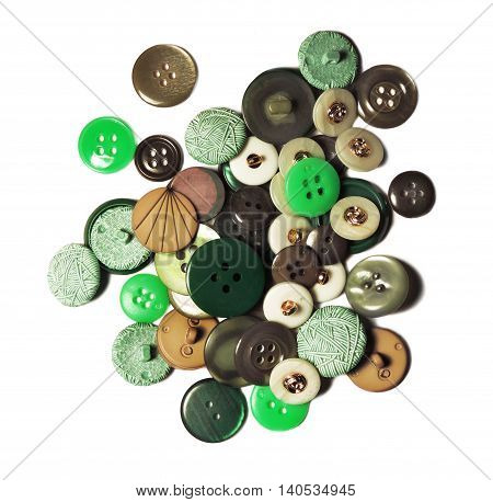 Sewing buttons, heap of vintage buttons isolated on white background.