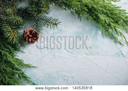 Christmas background with green branches