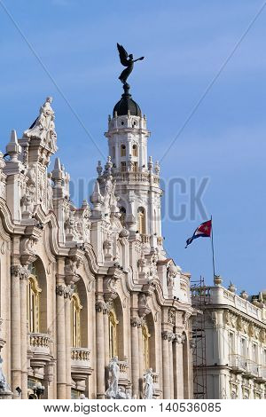 Gran Teatro in Havana Cuba with the fascade view and national cuba flag