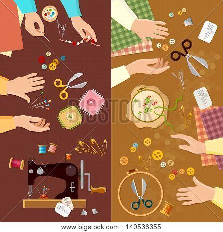 Tailor banner seamstress fashion designer needlework lessons team hands vector illustration