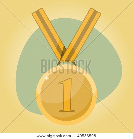 First place award. Gold medal in cartoon style