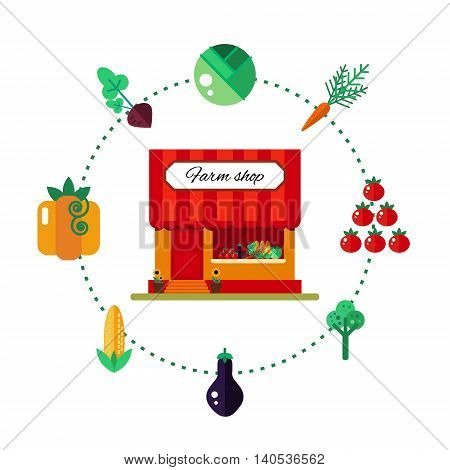 Farm product shop in flat style - vector illustration stock. Market icon with showcases isolated on white background