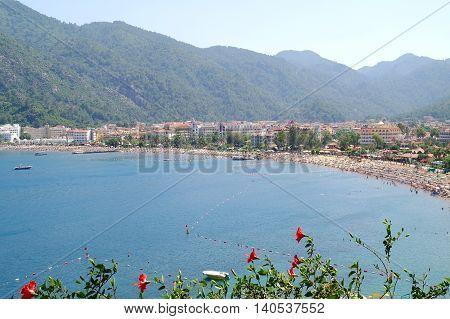 Coast of Mediterranean. Resort a city Marmaris