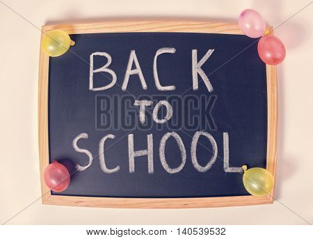 Top View Joking Concept Of Education With Text Back To School Is Written In Convex Chalkboard And Co