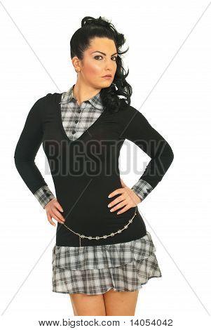 Beautiful Model Woman In Schoolgirl Dress