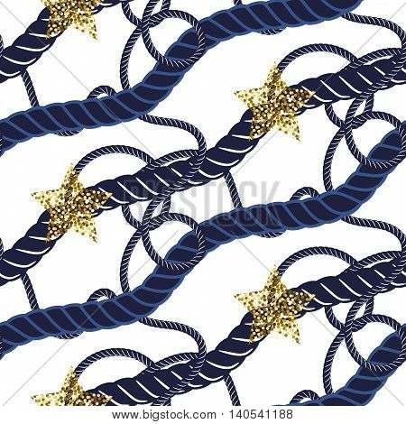 Marine navy blue rope knot seamless pattern with gold star. Rope string diagonal lines on white. Glitter accents.