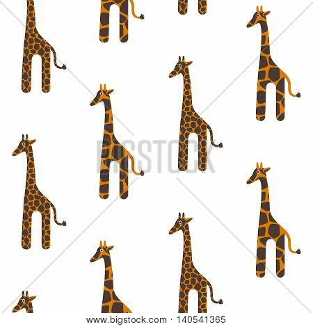 Giraffe cute vector seamless pattern. Giraffe brown and orange texture stains. Safari wild animal kid background.