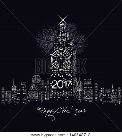 Happy new year 2017 written with Sparkle firework and led