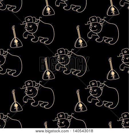 Bear in a cap with earflaps and a balalaika on a black background seamless pattern vector