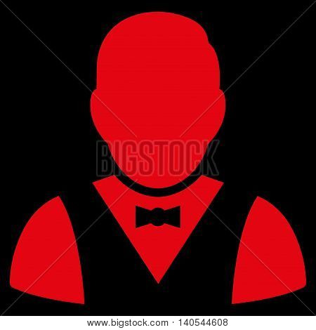 Waiter icon. Vector style is flat iconic symbol with rounded angles, red color, black background.