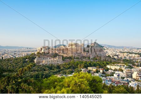 Panoramic view of Acropolis of Athens from Filopappos Hill. Greece.
