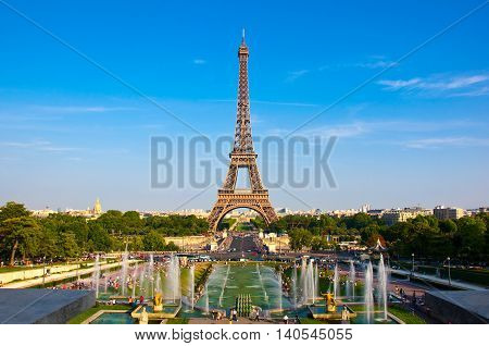 The Eiffel Tower and the Champ de Mars in the distance. Paris France.