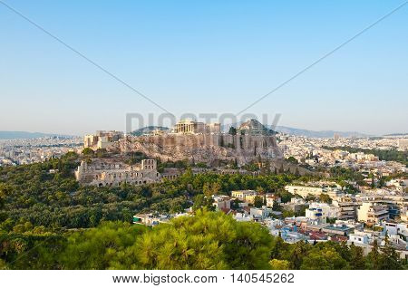 Acropolis of Athens and Lycabettus Hill on the background as seen from Filopappos Hill.