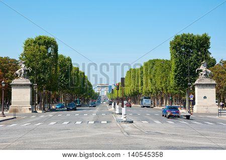 PARIS-AUGUST 16: The Avenue des Champs-Élysées seen from the Place de la Concorde on August 162009 in Paris France.