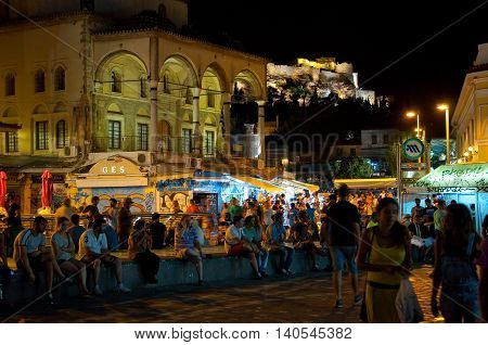 ATHENS-AUGUST 22: Nightlife on Monastiraki Square on August 22 2014 in Athens Greece.