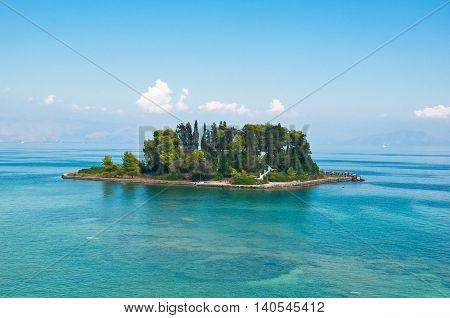 Pontikonisi or Mouse island in Ionian sea. Corfu islandGreece.