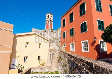 The clock tower at the Old Fortress of Corfu. Greece.
